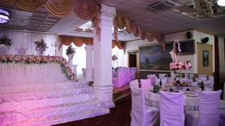 Banquet luxurious hall for wedding and special occasions. Beautiful room for ceremonies and weddings. Wedding hall or other function facility set for fine dining. Place for honeymooners