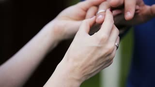 Bride putting wedding ring on groom during wedding ceremony.Wedding concept