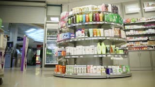 Drugstore,cosmetics and healthcare interior.Healthcare Products For Sale In Cosmetics And Healthcare Store in Rissia.