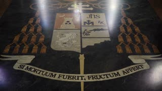 Floor with an ornament si mortuum fuerit, fructum affert in a Catholic cathedral. Manila Cathedral interior, Intramuros. 4K video, Philippines