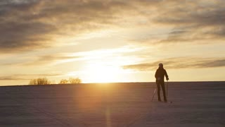 Girl on cross-country skis in the field. Skiing in field in cold winter day. Cross-country skiing on field in the sunny day. Skier, cross-country skiing in the field at sunset