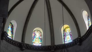 Manila Cathedral interior, Intramuros. Arch ceiling cathedral. 4K video Philippines