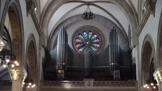 Manila Cathedral interior, Intramuros. Organ in the Catholic cathedral. Arch ceiling cathedral. 4K video, Philippines