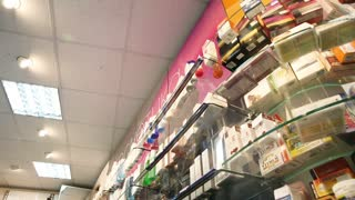 Shelves with medicines in a pharmacy store. Healthcare Products For Sale In Cosmetics And Healthcare Store in Russia. Pharmacy store drugs. Drugstore, cosmetics, health store. Beautiful interior of