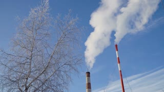 Boiler room in the winter season, from the chimneys rise up clouds of steam. Pipes of a thermal power plant. Boiler house, pipe plant, boiler plant. 4K video