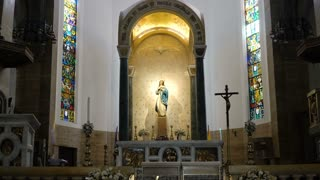 Manila Cathedral interior, Intramuros. Prayer hall of the Cathedral with the Virgin Mary. 4K video, Philippines