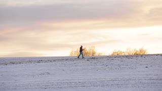 Young girl on cross-country skis in the field. Skiing in field in cold winter day. Cross-country skiing on field in the warm day