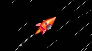 Cartoon Space Rocket Moving in The Space