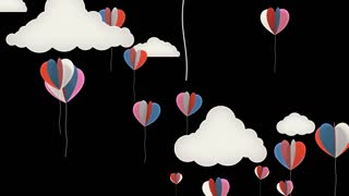Love Balloons Background Animation for Valentines Day and Wedding.