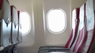 Airplane windows and seat