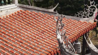 Architectural top view details of Chinese orange glazed tile roof