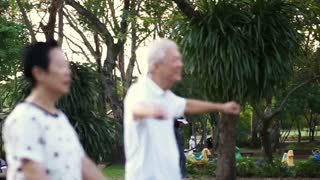 Asian senior couple dancing aerobic exercise in the park. Laughing and having fun together