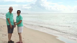 Asian senior couple walking happily by the beach. holding hand and talk with each other