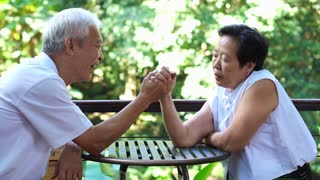Asian senior playing hand wresting abstract comply, give in to each other in life with green nature background