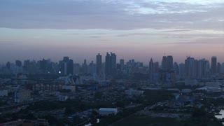 Bangkok, Thailand capital city of South East Asia view from top at sunrise skyline over the main river curve