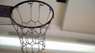 Basketball getting in or miss out chain hoop. Concept and abstract of opportunities, success and mistake