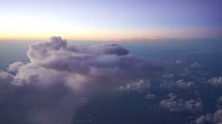 beautiful morning or evening sky view from plane window. High up in the air
