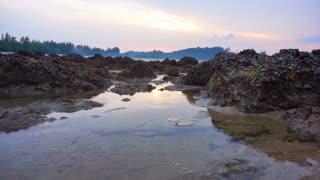 Beautiful sunset evening scene of Andaman sea. Koh Phayam Island beach in Ranong, Thailand
