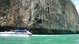 Bird nest cave in Koh Phi Phi island, Thailand. Beautiful mountain in green ocean