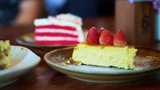 Cakes platter, Strawberry cheesecake, tiramisu, red velvet