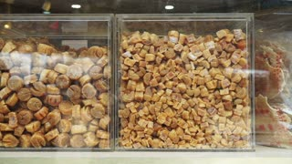 Chinese Dried scallop shop in Hong Kong. Medicine food for health