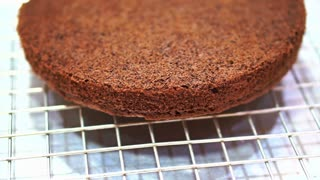 Chocolate cake sponge after oven baking, Patisserie cake class ingredient