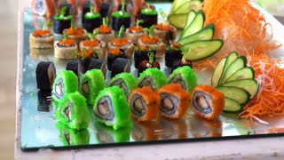Colourful Sushi buffet display in restaurant