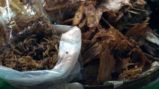 Dried fish and seafood in South East Asia market stall