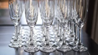 Empty champagne glasses row. Wedding and happy event celebration symbol