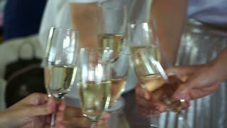 friends drinking and toasting champagne at the party