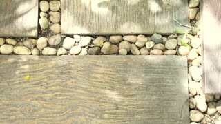 garden landscape paving design. pebble stones and wood plank on the floor