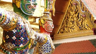 Giant statue around Wat Phra Kaew Temple Of Emerald Buddha. Landmark of Bangkok, Thailand