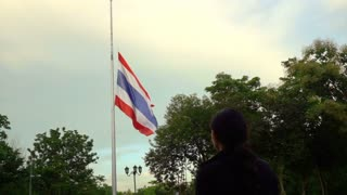 Half-mast or half-staff of Thai national flag in order to respect and mouring
