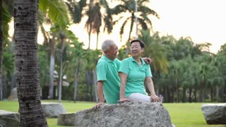 Happy Asian senior couple smiling after exercise in the park