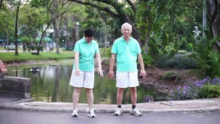 happy Asian senior couple walking exercise along the park. Abstract love health and nature