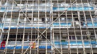 Hong Kong bamboo scaffold renovating old apartment building