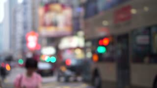 Hong Kong blurred street traffic view POV