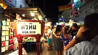 Hua Hin, Thailand - March 2016: Local people and tourist shopping at famous night market