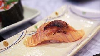 Japanese food set assorted salmon nigiri sushi set, aburi, miso, fish roe and maki