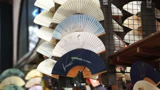 Japanese traditional hand fan, beautiful art and souvenir from Japan