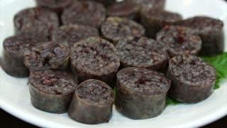 Korean food, blood sausage with rice. Soondae or Sundae