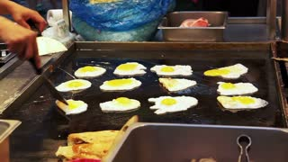 Korean street food, egg bread or Gyeran Bbang at Myeongdong street in Seoul, South Korea