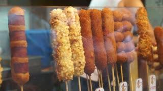 Korean street food wrap fried Hot Dog in variety of menu