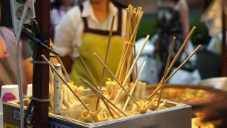 Korean style fish cake stick in hot soup. Oden food