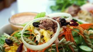 Low carb tuna salad. Colorful healthy fresh food from organic farm