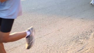 Marathon runners in the morning sun, healthy exercise concept