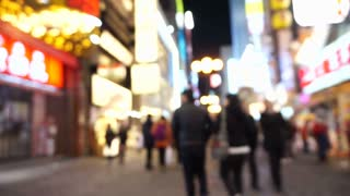 OSAKA, JAPAN - MARCH 2015: Dotonbori area shopping street and landmark at night with blur effect