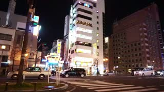 Osaka, Japan - March 2015: View of traffic moving through the night city Osaka, Japans. Night life light and life of the city