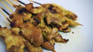 Roasted pork satay Thai Malaysian cuisine