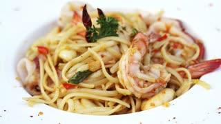 Seafood spaghetti mix fusion style italian food